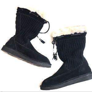 UGG Australia black sweater boots with cream fur